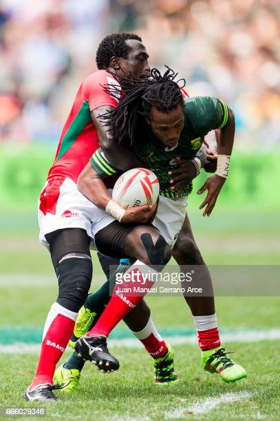 Cecil Afrika of South Africa is tackled during the 2017 Hong Kong Sevens match between South Africa and Kenya at Hong Kong Stadium on April 8 2017 in...