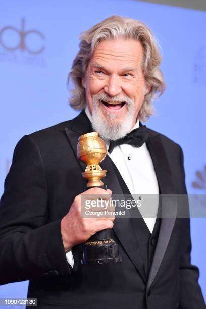 Cecil B DeMille Award winner Jeff Bridges poses in the press room during the 75th Annual Golden Globe Awards held at The Beverly Hilton Hotel on...