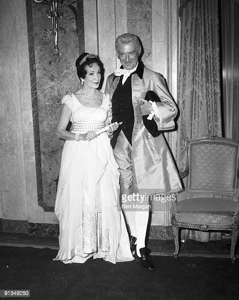 Cecil Beaton and Mrs K Kingman Douglas at the Italian Renaissance Ball Hotel Plaza New York c1960