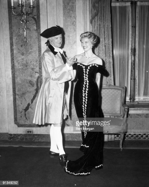 Cecil Beaton and Mrs Thomas Bancroft Jr at the Italian Renaissance Ball Hotel Plaza New York c1960