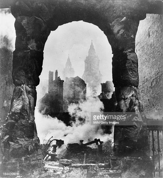 General The Home Front 1940 1941 The western bell towers of St Paul's Cathedral in London seen through an archway after the heavy incendiary raid of...