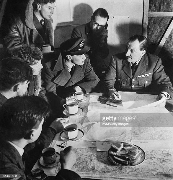 General The Royal Air Force A bomber crew is debriefed after their return from a night raid circa 1942