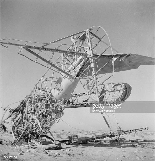General The Western Desert 1942 The tail skeleton of an aircraft abandoned at a former Italian aerodrome near Sollum