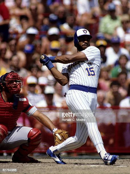Cecil Cooper of the Milwaukee Brewers bats during a game against the Chicago White Sox on July 24 1983 in Milwaukee Wisconsin