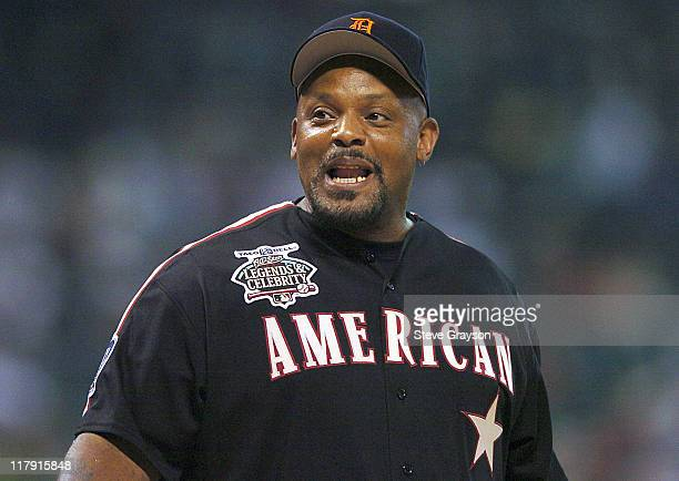 Cecil Fielder in action during the Legends and Celebrities softball game at Minute Maid Park in Houston Texas July 11 2004