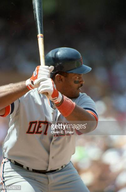 Cecil Fielder of the Detroit Tigers bats against the California angels at the Big A circa 1992 in AnaheimCalifornia