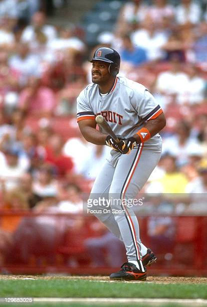 Cecil Fielder of the Detroit Tigers bats against the Milwaukee Brewers during an Major League Baseball game circa 1991 at Milwaukee County Stadium in...