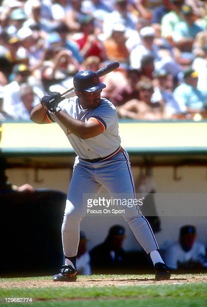 Cecil Fielder of the Detroit Tigers bats against the Oakland Athletics during an Major League Baseball game circa 1990 at the OaklandAlameda County...