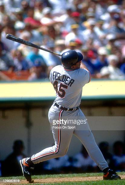 Cecil Fielder of the Detroit Tigers bats against the Oakland Athletics during an Major League Baseball game circa 1992 at the OaklandAlameda County...