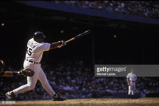 Cecil Fielder of the Detroit Tigers bats during a baseball game on August 1 1993 at Tigers Stadium in Detroit Michigan