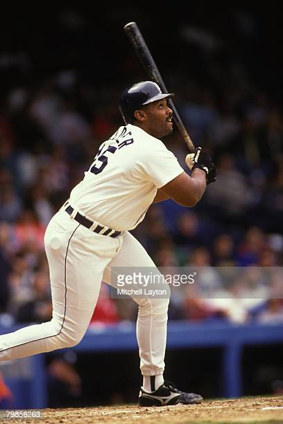 Cecil Fielder of the Detroit Tigers bats during a baseball game against the Texas Rangers on August 1 1993 at Tiger Stadium in Detroit Michigan
