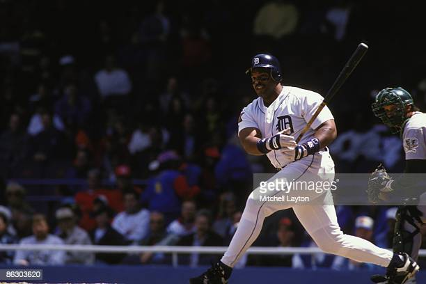 Cecil Fielder of the Detroit Tigers bats during a baseball game against the Chicago White Sox on May 1 1994 at Tigers Stadium in Detroit Michigan