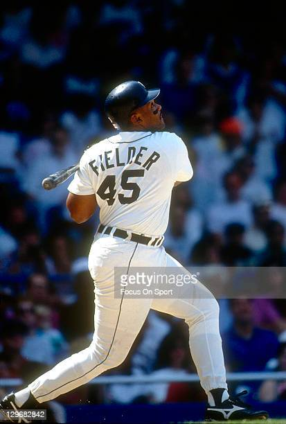 Cecil Fielder of the Detroit Tigers bats during an Major League Baseball game circa 1991 at Tiger Stadium in Detroit Michigan Fielder played for the...