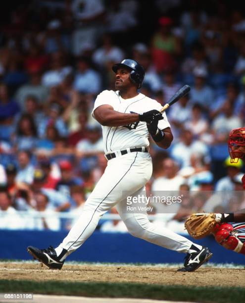 Cecil Fielder of the Detroit Tigers bats during an MLB game at Tiger Stadium in Detroit Michigan Fielder played for the Tigers from 19901996