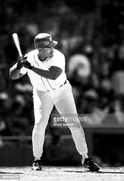 Cecil Fielder of the Detroit Tigers bats during an MLB game circa 1993 at Tiger Stadium in Detroit Michigan