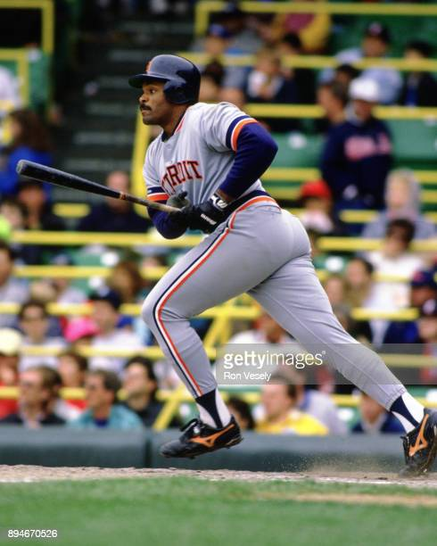 Cecil Fielder of the Detroit Tigers bats during an MLB game versus the Chicago White Sox at Comiskey Park in Chicago Illinois