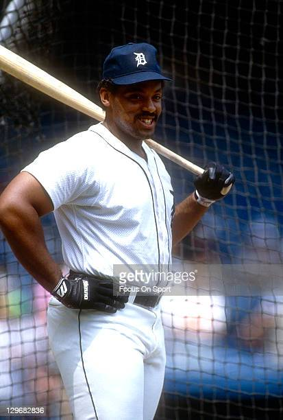 Cecil Fielder of the Detroit Tigers looks on during batting practice before an Major League Baseball game circa 1991 at Tiger Stadium in Detroit...