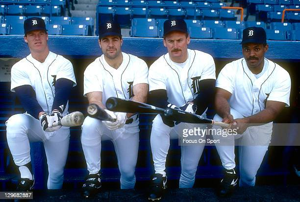 Cecil Fielder of the Detroit Tigers poses for this photograph with teammates Rob Deer Pete Incaviglia and Mickey Tettleton before an Major League...
