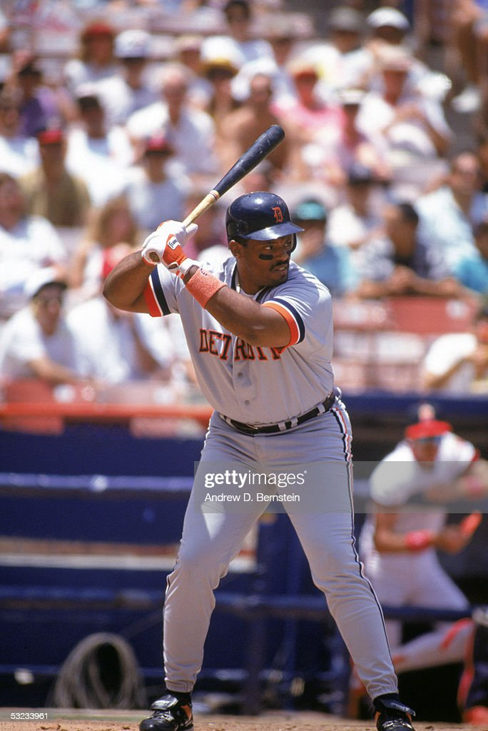 Cecil Fielder #45 of the Detroit Tigers stands ready at the plate during a game against the California Angels at Angel Stadium on July 26, 1992 in Anaheim, California.