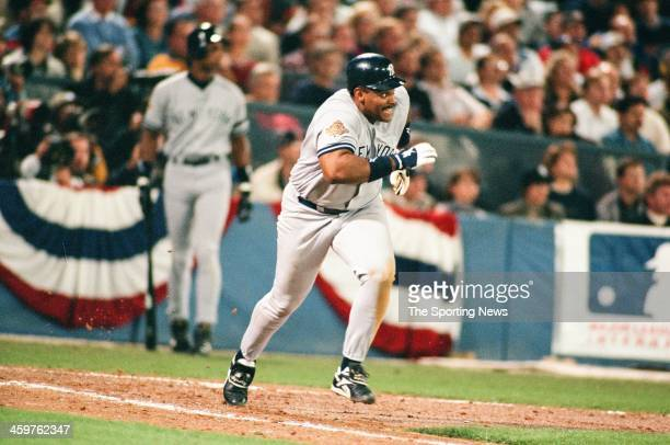 Cecil Fielder of the New York Yankees bats during Game Five of the World Series against the Atlanta Braves on October 24 1996 at AtlantaFulton County...