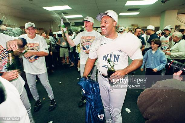 Cecil Fielder of the New York Yankees celebrate following Game Five of the American League Championship Series against the Baltimore Orioles on...