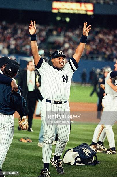 Cecil Fielder of the New York Yankees celebrates following Game Six of the World Series against the Atlanta Braves on October 26 1996 at Yankee...