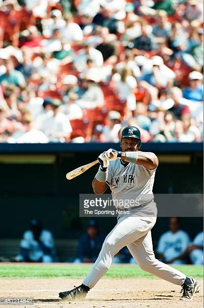 Cecil Fielder of the New York Yankees looks on against the Kansas City Royals on May 4 1997 at Kauffman Stadium in Kansas City Missouri The Yankees...