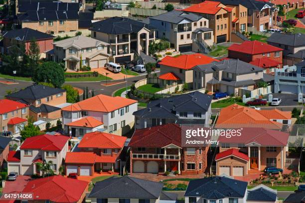 cecil hills, western sydney, aerial photography - housing development stock pictures, royalty-free photos & images