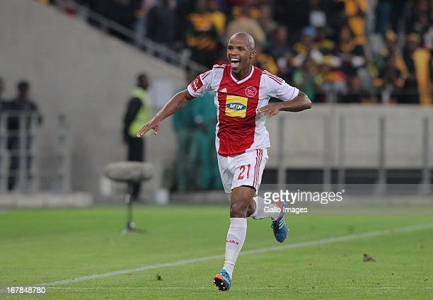 Cecil Lolo of Ajax CT celebrates during the Absa Premiership match between Ajax Cape Town and Kaizer Chiefs at Cape Town Stadium on May 01 2013 in...
