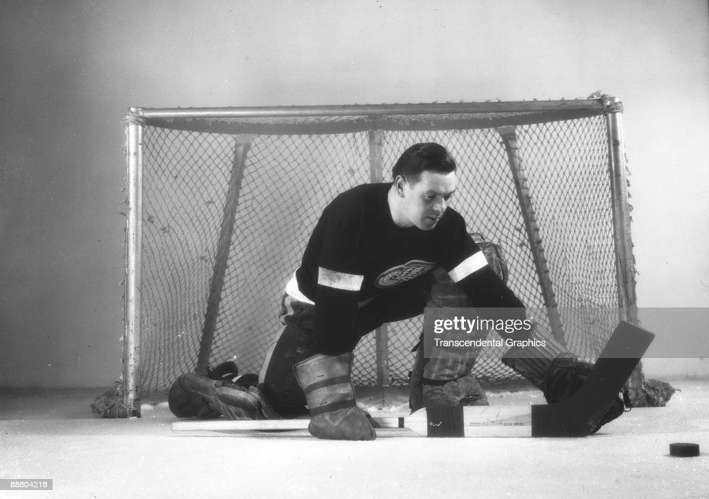 Tiny Thompson Posing In Goal : News Photo