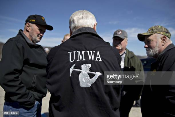 Cecil Roberts president of the United Mine Workers of America talks to attendees before a campaign rally with Conor Lamb Democratic candidate for the...