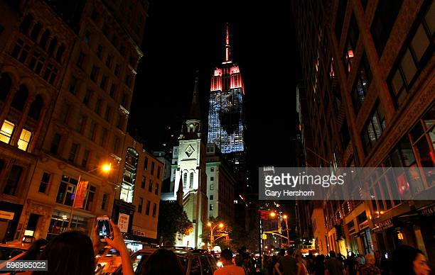 Cecil the lion and other images of endangered species are projected onto the Empire State Building as part of the Racing Extinction project in New...
