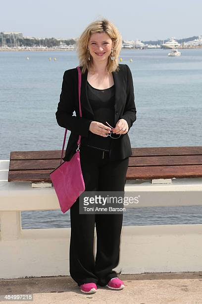 Cecile Bois attends photocall for Candice Renoir at Hotel Majestic Jetty on April 7 2014 in Cannes France