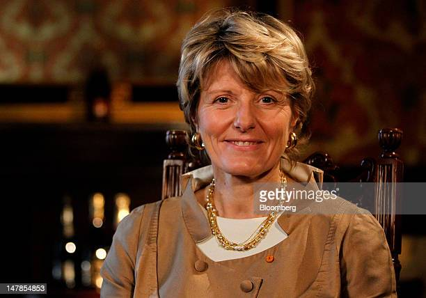 Cecile Bonnefond, chief executive officer of Charles Heidsieck Champagne, poses for a photograph at the St Pancras Renaissance London Hotel in...