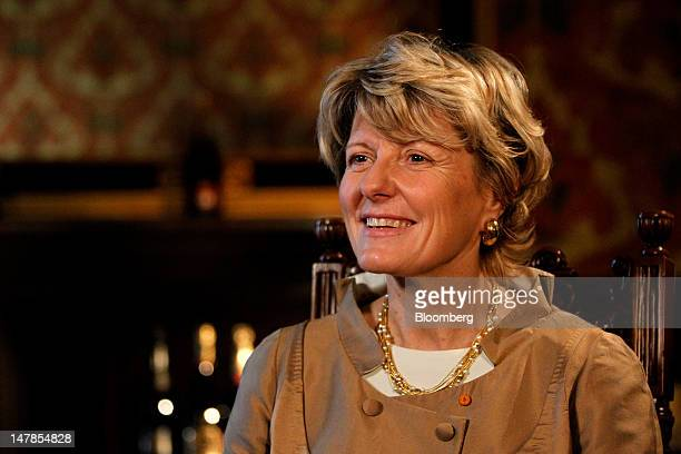 Cecile Bonnefond, chief executive officer of Charles Heidsieck Champagne, reacts during a Bloomberg Television interview at the St Pancras...