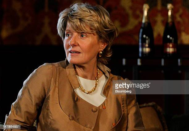 Cecile Bonnefond, chief executive officer of Charles Heidsieck Champagne, speaks during a Bloomberg Television interview at the St Pancras...