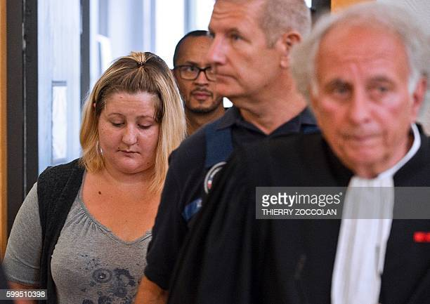 Cecile Bourgeon mother of the late Fiona arrives with her lawyer GillesJean Portejoie for the trial of Adel Souissi who is accused of having raped...