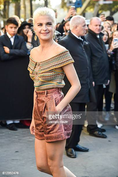 Cecile Cassel is seen arriving at Chanel Fashion show during Paris Fashion Week Spring/Summer 2017 on October 4 2016 in Paris France