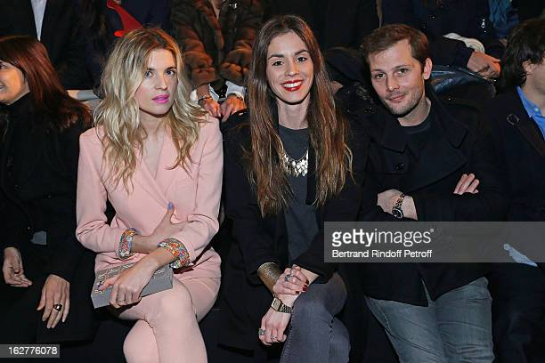 Cecile Cassel Laura Isaaz and Nicolas Duvauchelle attend the Etam Live Show Lingerie at Bourse du Commerce on February 26 2013 in Paris France