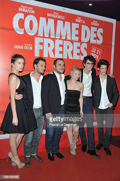 Cecile Cassel Nicolas Duchauvelle Francois Xavier Demaison Melanie Thierry Hugo Gelin and Pierre Niney attend 'Comme Des Freres' Premiere at Cinema...