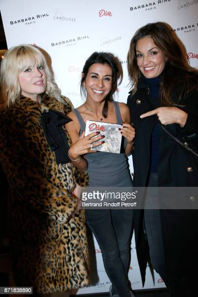 Cecile Cassel Reem Kherici and Nadia Fares attend Reem Kherici signs her book 'Diva' at the Barbara Rihl Boutique on November 8 2017 in Paris France