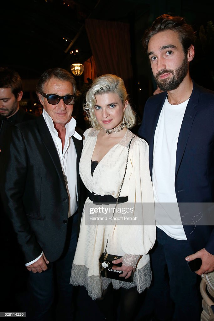 Cecile Cassel standing between Eric Pfrunder (L) and his son Jasper (R) attend the 'Chanel Collection des Metiers d'Art 2016/17 : Paris Cosmopolite'
