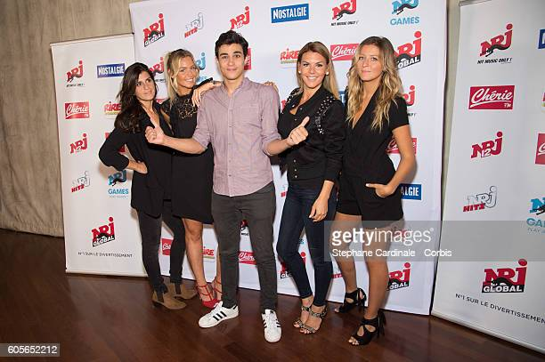 Cecile Chlous Aurelie Van Daelen Martial Betirac Amelie Neten and Emilie Picch pose at the Photocall of NRJ Group at Musee du Quai Branly on...
