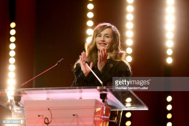 Cecile de France speaks on stage at the closing ceremony during the 68th Berlinale International Film Festival Berlin at Berlinale Palast on February...