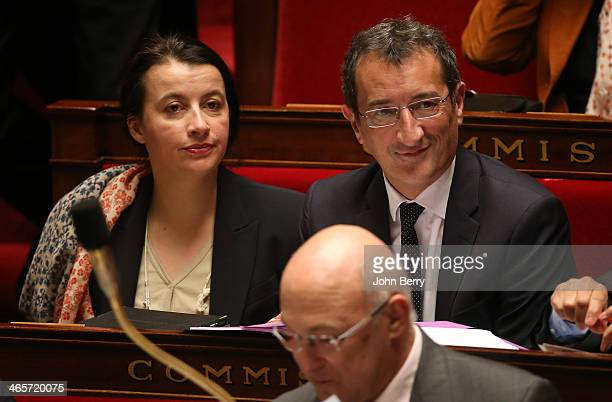 Cecile Duflot French Minister for Housing and Francois Lamy French Minister for Cities participate at the Questions to the Government at the French...