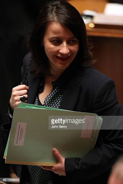 Cecile Duflot french Minister for Housing participates at the Questions to the Government at the french National Assembly on February 4 2014 in Paris...