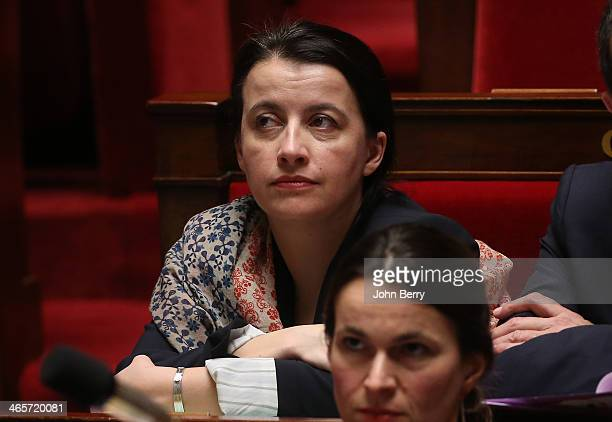 Cecile Duflot French Minister for Housing participates in the Questions to the Government at the French National Assembly on January 28 2014 in Paris...