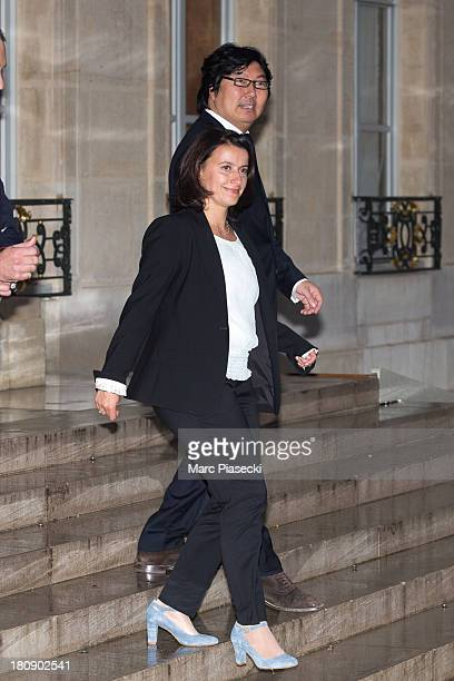 Cecile Duflot leaves the 'legion d'honneur' medal ceremony at Elysee Palace on September 17 2013 in Paris France