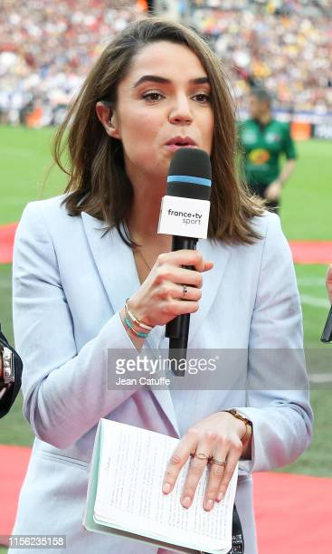 Cecile Gres comments for France Televisions the Top 14 Final match between Stade Toulousain and ASM Clermont Auvergne at the Stade de France on June...