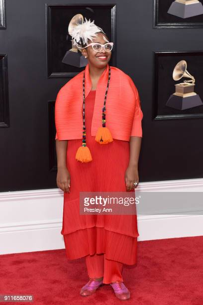Cecile McLorin Salvant attends the 60th Annual GRAMMY Awards Arrivals at Madison Square Garden on January 28 2018 in New York City